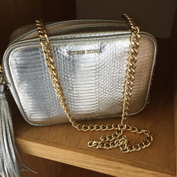 VS Silver bag with gold chain strap -NEW